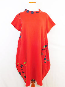 Fleece Patch Dress - Bubble Solid Print - Red