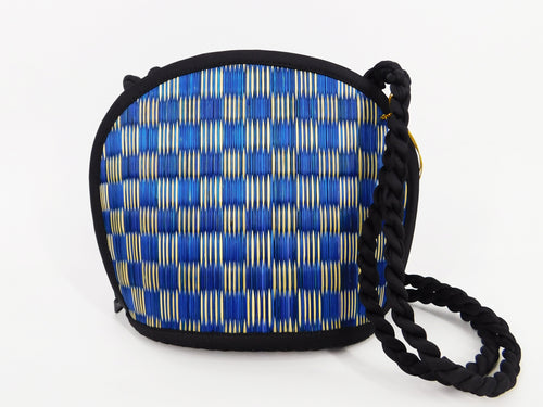 Tatami Style Clamshell Bag - Blue Check