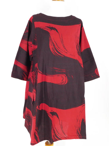Tuck Pocket A-Line Dress - Calligraphy Print - Red/Black