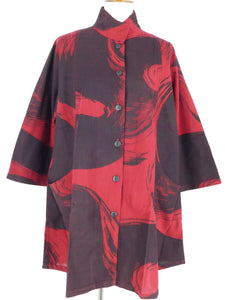 Scoop Pocket Jacket - Calligraphy Print - Red/Black