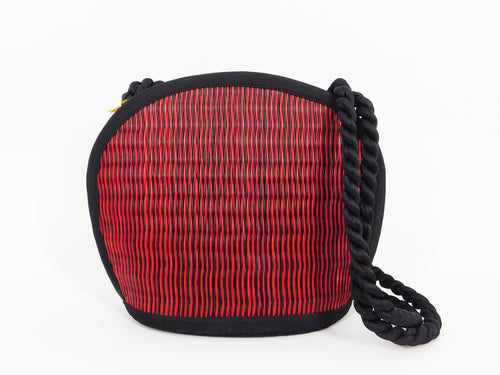 Tatami Style Clamshell Bag - Crimson with Black Stripe