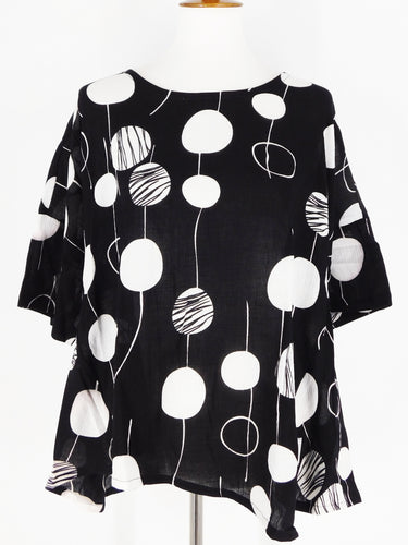 Side Slit Shirt - Random Bubble Print - Black
