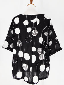 Tab Pocket Top - Random Bubble Print - Black