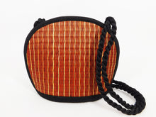 Tatami Style Clamshell Bag - Brown with Natural Stripe