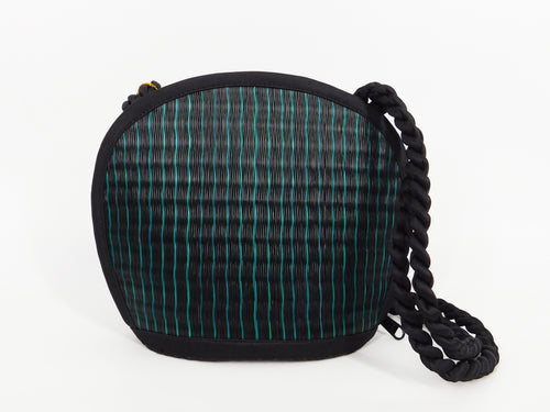 Tatami Style Clamshell Bag - Black with Teal Stripe