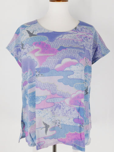 T-Top - Bird Cloud Print - Blue Grey