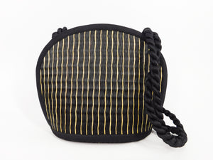Tatami Style Clamshell Bag - Black with Natural Stripe