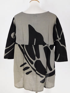 Angle Pocket Top - Big Butterfly Print - Grey