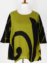 Angle Pocket Top - Big Butterfly Print - Olive
