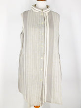 Long Vest - Stripe Print - Light Grey
