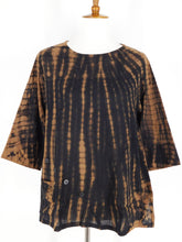 Button Top - Tie Dye Print - Black/Brown - S/M