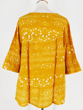 Button Top - Galaxy Print - Mustard