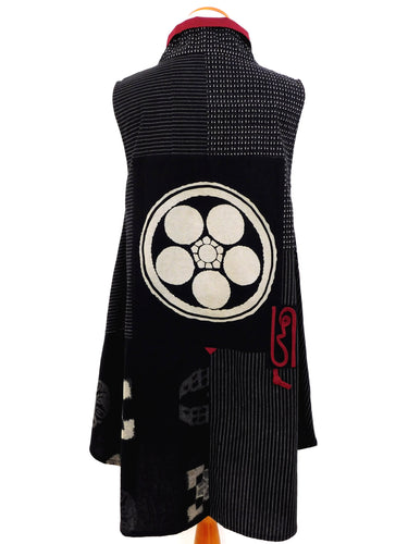 Stand Collar Long Vest - Kasuri - Black