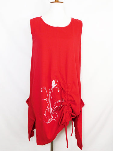 Knit Sleeveless Tunic - Butterfly Stamp - Red - S/M