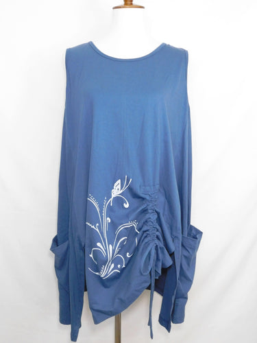 Knit Sleeveless Tunic - Butterfly Stamp - Teal - S/M