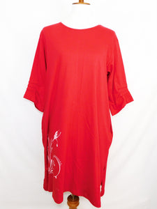 Knit Long Sleeve Dress - Butterfly Stamp - Red - S/M