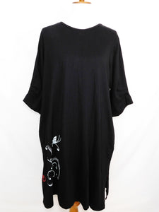 Knit Long Sleeve Dress - Butterfly Stamp - Black - S/M