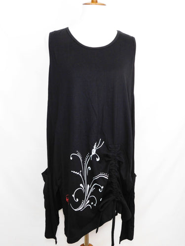 Knit Sleeveless Tunic - Butterfly Stamp - Black - S/M