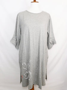 Knit Long Sleeve Dress - Butterfly Stamp - Light Misty - S/M