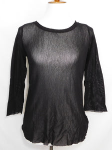 3/4 Sleeve Layering Tee - 100% Cotton Tulle - Black