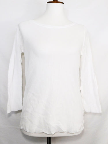 3/4 Sleeve Layering Tee - 100% Cotton Tulle - White