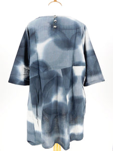 Simple Tunic - Water Drops Print - Indigo