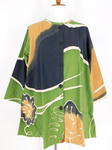 Button Front A-Line Jacket - Sashiko - Water Lily Print - Green