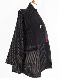 Roll Collar Short Jacket - Kasuri Patch - Black