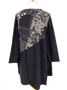 Knit Pullover Tunic - Patchwork - Black