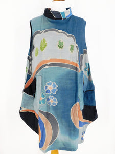 Sleeveless Cowl Neck Tunic - River's Edge Batik - Indigo