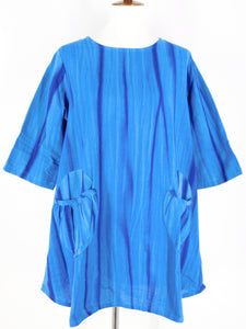 Circle Patch Pocket Tunic - Shibori Print - Blue