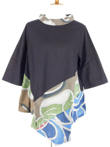Asymmetrical Cowl Neck Tunic - Kaleidoscope Print - Black