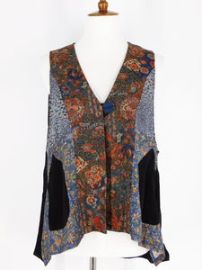 One-Of-A-Kind Assorted Kimono Silk Vest - Black/Blue - S/M - A