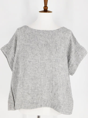 Crosshatch Short Sleeve Crop Top - Laundered