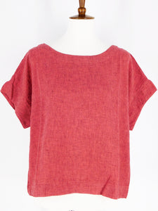 Crosshatch Short Sleeve Crop Top - Harbor Red