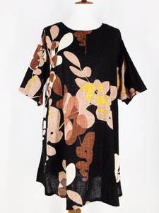 Simple Tunic - Cross Clover Print - Black