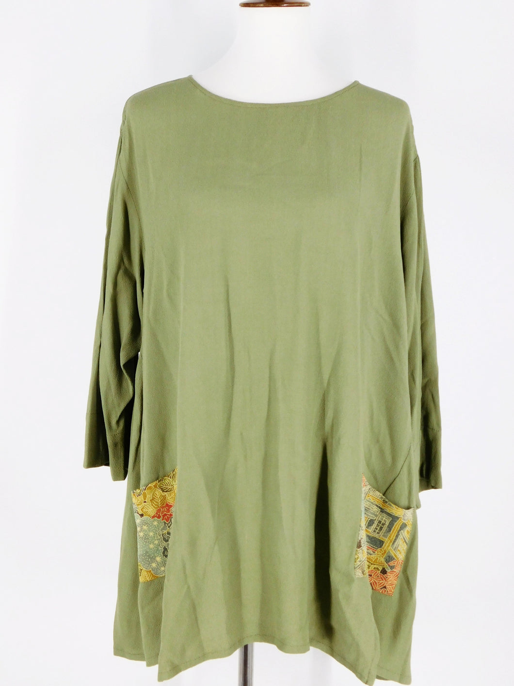 One-Of-A-Kind Assorted Kimono Silk Pocket Tunic - Sage - S/M - A