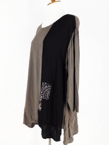 One-Of-A-Kind Assorted Kimono Silk Combo Tunic - Black/Charcoal - S/M - A