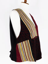 One-Of-A-Kind Assorted Kimono Silk Crop Vest - Black/Red - M/L - A