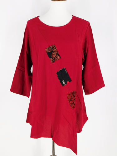 One-Of-A-Kind Assorted Kimono Silk Flare Tunic - Red