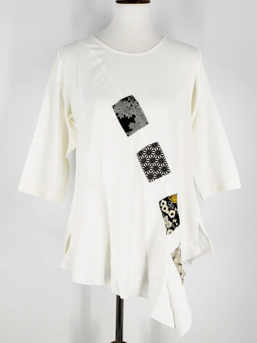 One-Of-A-Kind Assorted Kimono Silk Flare Tunic - White