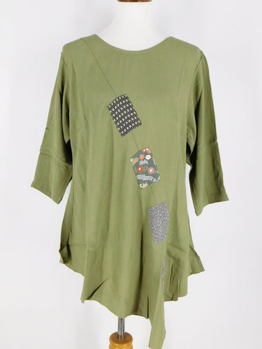 One-Of-A-Kind Assorted Kimono Silk Flare Tunic - Sage