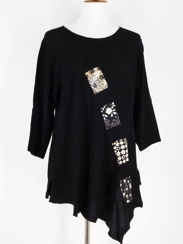 One-Of-A-Kind Assorted Kimono Silk Flare Tunic - Black