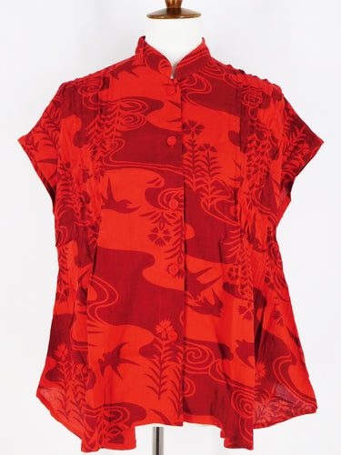 Pintuck Top - Stream Print - Red