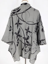 Mao Collar Jacket - Circle Flower Print - Grey