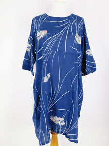 Optimal Dress - Haiku Print - Steel Blue