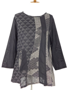 Swing Tunic - Pyramid Patch Print - Black