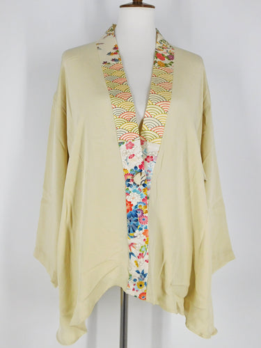 One-Of-A-Kind Assorted Kimono Silk Jacket - Ivory - S/M