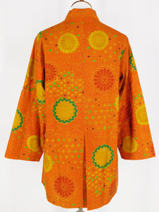 One-Of-A-Kind Assorted Kimono Silk Jacket - Orange
