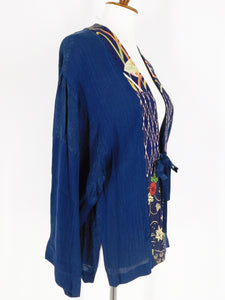 One-Of-A-Kind Assorted Kimono Silk Jacket - Blue - S